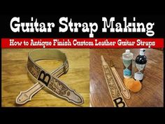 Guitar Strap Making - How to Antique Finish Custom Leather Guitar Straps - YouTube Sewing Leather, Leather Belts, Leather Tooling, Leather Carving, Custom Electric Guitars, Custom Guitars, Diy Leather Guitar Strap, Custom Guitar Picks, Guitar Diy