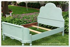 antique bed painted in Annie Sloan Duck Egg
