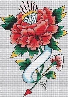 Ed Hardy tattoo cross stitch pattern, no kidding.