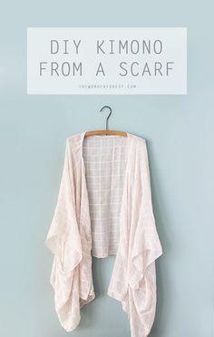 Make a DIY Kimono From a Scarf | - Wonder Forest - | Bloglovin'