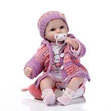 UCanaan 40-45 cm Doce Boneca Lifelike Renascer Baby Dolls Silicone Vinil Artesanal Corpo Mole com a Beleza Camisola melhor Garota(China (Mainland))
