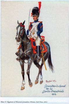 1812  Imperial Horse Guard Grenadier French (Grenadier à cheval de la garde Impériale.) Napoleonic War Plates.   nacekomie.ru