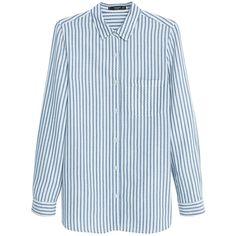 Mango Striped Shirt, Light Pastel Blue (2.855 RUB) ❤ liked on Polyvore featuring tops, blue shirt, long sleeve tops, vertical stripe shirt, button collar shirt and blue long sleeve shirt