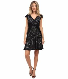 $180 Adrianna Papell Black White Jersey Lace Fit & Flare Vneck Dress 12 NWT A827 #AdriannaPapell #BallGownFitFlare #Cocktail