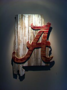 Wooden State of Alabama with Crimson Tide logo