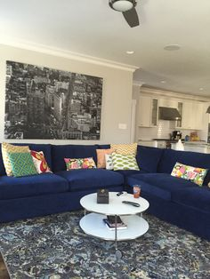 Blue velvet lounge sectional from crate and barrel. #bluevelvetsectional