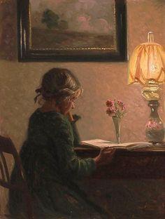 Broge, Karl Harald Alfred (b,1870)- Girl Reading -2a