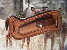 Brown Leather Horizontal Sheath CASE TRAPPER KNIFE 4 1/8 Hand Sewn Custom Made @