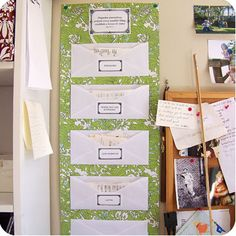 Receipt organizing ~ Use envelopes that are labeled to file receipts each week/month. Later, you can file receipts you need to keep permanently, as desired. (could go on inside of cupboard doors...)