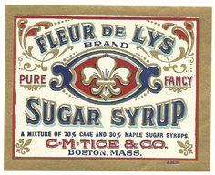 Fleur De Lys Sugar Syrup Label