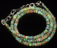 29 CTW 2-4 MM 14 NATURAL GENUINE ETHIOPIAN WELO FIRE OPAL BEADS NECKLACE-R6731