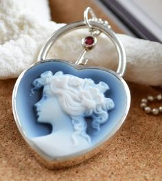 Heart Shaped Cameo Lock And Key Pendant And Key Charms, Valentines Day Gift…