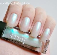 Julep nail polish, color Melissa: a nacreous, pearlized, sheer white
