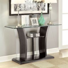 Furniture Of America Adrian Grey Beveled Glass Top Sofa Table (Grey)