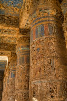 Columns in Second Court, Medinet Habu (Mortuary Temple of Ramses III), West…