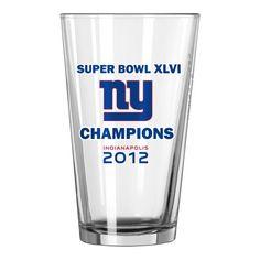 NFL New York Giants 2012 Super Bowl XLVI Champions 16 Ounce Roster Pint Glass $14.39