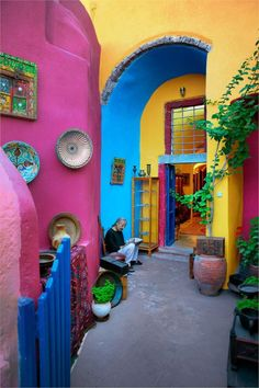 Bold colors! An artist's studio in Oia, Santorini, Greece.