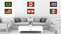 Lebanon Country Flag Texture Canvas Print with Black Picture Frame Home Decor Wall Art Decoration Collection Gift Ideas