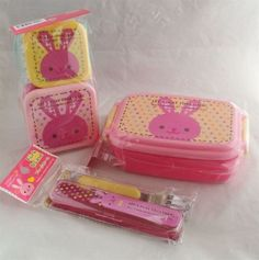 Set of 3 Kawaii Pink rabbit Bento Lunch boxes food container Daiso Japan gift
