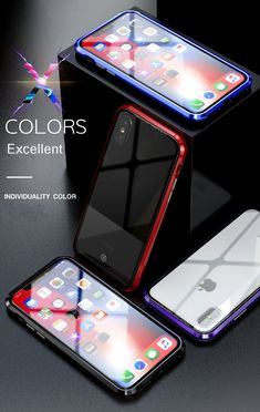 Bakeey Upgraded Version Magnetic Adsorption Metal Clear Glass Protective Case for iPhone X BazaCenters. Magnetic Frames, Protective Cases, Clear Glass, Magnets, Iphone Cases, Apple, Make It Yourself, Metal, Phone Accessories