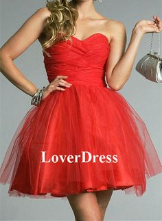 Short Mini Strapless Sweetheart Prom Dress Red Prom by LoverDress