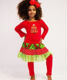 Another great find on #zulily! Red Christmas Tree Tunic & Pants - Infant, Toddler & Girls #zulilyfinds