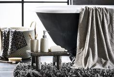 Our bathroom range offers a variety of towels and essential accessories to complete your dream bathroom. Shop our selection online or in store at Bed Bath N' Table. Bath Towel Storage, Bath Towels, Towel Display, Ideal Bathrooms, Bathroom Collections, Bed & Bath, Clawfoot Bathtub, Bathroom Accessories, Storage Solutions