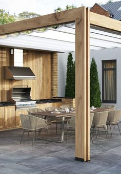 Garden Room, Modern Gazebo, Modern Pergola, Outdoor Kitchen Design, Outdoor Kitchen, Outdoor Tiles, Outdoor Rooms, House Without Walls, Outdoor Kitchen Decor