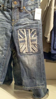 Greatest idea EVER for refashioning boys jeans with wholes in the knees (courtesy of Baby Gap).
