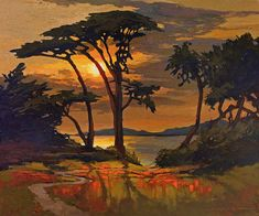 Tangerine Dream - Central Coast Sunset - Giclee Art PRINT of Original Painting matted 16x20 by Jan Schmuckal