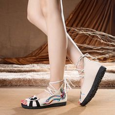 e06818f0247 Flower Flats Chinese Style Embroidered Soft Sole Shoes Cloth Sandals For  Women