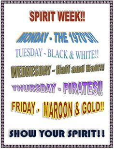 This site also has a list of other Homecoming Week Spirit Days