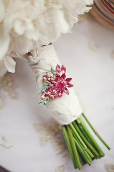 Turquoise and Pink Jeweled Pin on Bouquet Wrap Broach Bouquet, Bouquet Charms, Bouquet Wrap, Spring Wedding, Wedding Blog, Wedding Events, Wedding Ideas, Weddings, Beige Wedding