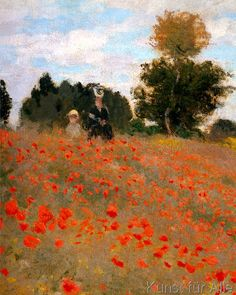 Claude Monet: Les Coquelicots à Argenteuil. Art Print, Canvas on Stretcher Claude Monet, Classic Paintings, Beautiful Paintings, Monet Paintings, Landscape Paintings, Artist Monet, Impressionist Paintings, Famous Art, Fine Art