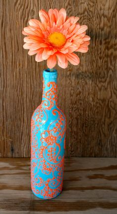 Hand Painted Wine bottle Vase, Up Cycled, Turquoise and Coral Orange, Vibrant Henna style design - Botellas decoradas , Wine Bottle Vases, Empty Wine Bottles, Painted Wine Bottles, Wine Bottle Crafts, Bottles And Jars, Beer Bottle, Henna Style, Wine Decor, Crafty Craft