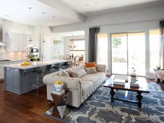 Transitional Living-rooms from Kerrie Kelly on HGTV..wall color ideas with the white and gray kitchen