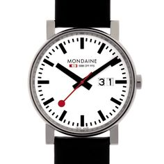 The official, exclusive Swiss Railways Watch. This Mens Mondaine watch has a stainless steel case, set around a white dial, featuring black markers, date window and sweeping red hand. A signature Mondaine black leather strap completes the look. Swiss Railway Clock, Dezeen Watch Store, Ipad, Bracelet Cuir, Leather Watch Bands, Classic Leather, Black Leather, Unisex, Stainless Steel Watch