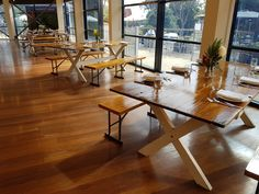 Our Harvest dining tables and wooden bench seats in the Vines room at the National Wine Centre National Wine Centre, Wooden Bench Seat, Large Round Table, Party Hire, Social Events, Dining Tables, Harvest, Vines, Room