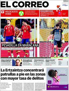 Los Titulares y Portadas de Noticias Destacadas Españolas del 1 de Julio de 2013 del Diario El Correo ¿Que le parecio esta Portada de este Diario Español?