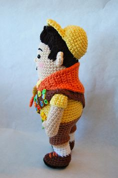 Russell Up inspired amigurumi crochet by Allison Hoffman side view