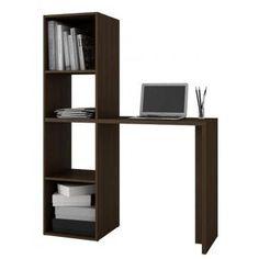 Librero con 4 repisas y mesa lateral para computadora