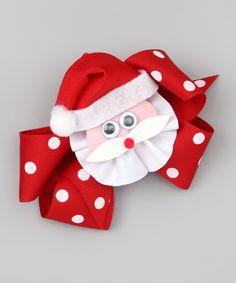 Red Polka Dot Santa Bow Clip Set