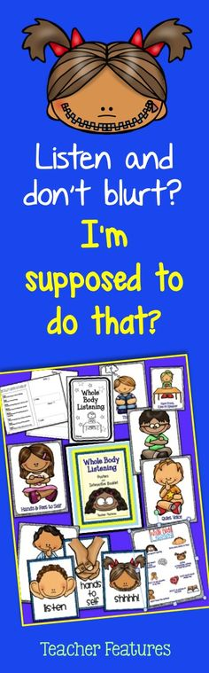 Get yours now for Back to School! This 29 pg. packet is perfect for setting up classroom expectations at the beginning of the year and for being a visual reminder throughout the rest of the year. Whole Body Listening is an important skill to teach! Classroom Expectations, Classroom Behavior Management, Behavior Goals, Behavior Charts, Kindergarten Classroom, School Classroom, Classroom Ideas, Eyfs Classroom, Classroom Rules