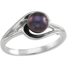 60979 / 14kt White / 06.00 MM / Polished / BLACK CULTURED PEARL RING