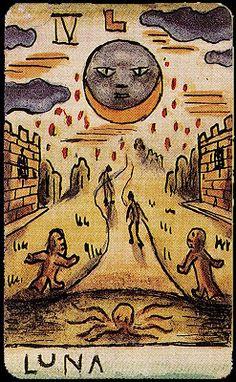 The Cabinet of the Solar Plexus: Xul Solar. Tarot Astrologico, Oracle Tarot, Vintage Tarot Cards, Funny Vintage Ads, The Moon Tarot, Divination Cards, Tarot Major Arcana, Tarot Card Decks, Plexus Products