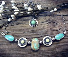 Carico Lake Nevada turquoise necklace sterling by LisasLovlies