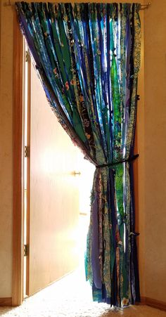 Bohemian Door Curtains Boho Curtains Ocean Blues Greens Hippie Curtains Curtains Gypsy Curtains