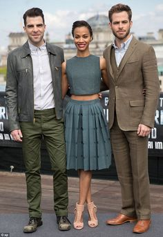 Spot the beauty: Zoe stood between her dapper leading men Zachary Quinto and Chris Pine