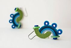 EARRINGS  with S form and  BLUE  ceramic by alexandraJewelrySHOP, $28.00