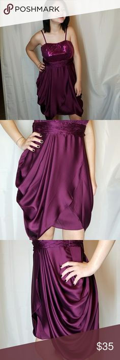 "Love Point Dress Stunning!!!! Plum purple dress, beautiful draped,  Bust 34c-36d Zip back with clasp closure.  Adjustable straps.  Length is 26"" 95% polyester 5% spandex Brand new only worn for modeling Love Point Dresses Asymmetrical"